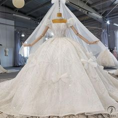 OSTTY - Square Collar Bow Lace Shiny Princess Large Trailing Wedding Dress OS2229 $829.99 Ball Dresses, Ball Gowns, Train Silhouette, Gowns With Sleeves, Body Shapes, Special Occasion Dresses, Hemline, Bows, Princess