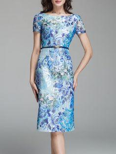 Blue Crew Neck Zipper Vintage Midi Dress Stylewe