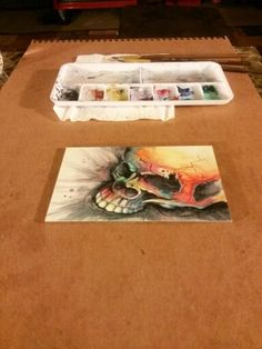 """Water colour skull Flat 1 / 8 """" panel 2 × 5 in.  Medium : water colour Title """"skull fracture"""""""