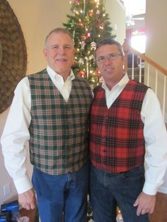 Flannel holiday vests for us!