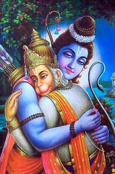 Lord Sri Rama and Hanuman Om Sri Rama jaya jaya rama you also who are burnt by the flames of samsara may repeat this mantra and obtain emancipation Hanuman Photos, Hanuman Images, Krishna Images, Hanuman Tattoo, Lord Sri Rama, Lord Rama Images, Hanuman Chalisa, Shree Krishna, Lord Krishna
