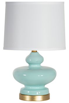 Designed by us and available only at One Kings Lane: The glossy ceramic body of this shapely table lamp is glazed in a seaglass hue and accented with bands of gold leaf at the neck and base; a...