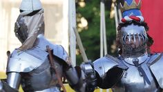 Alix van Zilj and Joram van Essen. Through Joram's visor you can see the bandages from being injured during a previous Turnier, Schaffhausen 2014 (photo by Andreas Petitjean) The Jousting Life