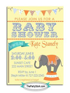 Custom Circus Baby Shower Theme Invitations, DIY Printable Baby Shower Invitation, Orange, Teal, Other Decorations and Invites available