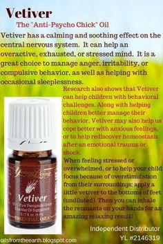 In a study conducted in 2001 by Dr. Terry Friedman, several essential oils were used to determine their effectiveness for common behavioral challenge in children. Vetiver was found to be the most effective in observations and brain wave scans – showing improvements in 100% of subjects! Cedarwood essential oil was 83% effective, and lavender 53%. For more information or to sign up with Young Living go to: oilsfromtheearth.blogspot.com: by alyssa #Essentialoildiffusers