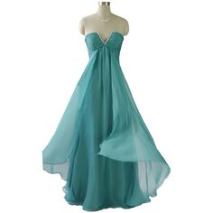 Qpid Showgirl Aqua Green Strapless Maxi Gown ($215) ❤ liked on Polyvore