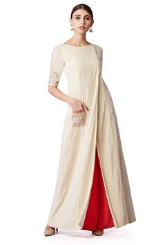 Featuring an elegant set of a front-open kurta, embellished with intricate thread embroidery on the pocket and sleeves and a pair of complimentary orange palazzos. Kurta Designs, Blouse Designs, Indian Wedding Outfits, Indian Outfits, Indian Attire, Indian Wear, Pakistani Dresses, Indian Dresses, Look Short