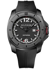 Tommy Hilfiger Men's Black Silicone Strap Watch 46mm 179114