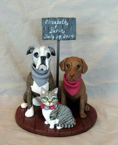 Custom Made Clay 2 Dog Cat Wedding Cake Topper Sculpture Boxer Labrador Retriever Cat Animal Bride Groom Pet                                                                                                                                                                                 Más