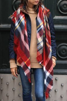 women's fashion, plaid blanket scarf, oversized scarf, quilted jacket, blair culwell, the fox and she