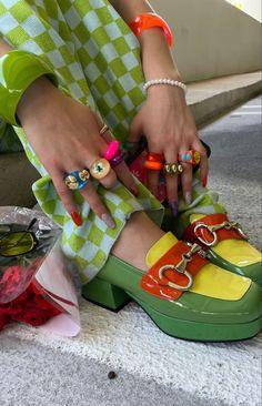 Funky Shoes, Cute Shoes, Me Too Shoes, Aesthetic Shoes, Aesthetic Clothes, Fashion Shoes, Fashion Outfits, Womens Fashion, Fashion Bags