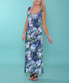 Love this Navy & Green Floral Maxi Dress - Women by Lbisse on #zulily! #zulilyfinds