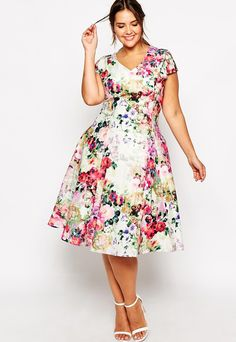 ASOS Truly You Floral Plunge Midi Dress