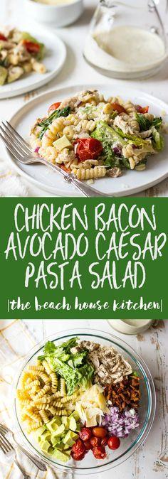 Chicken-Bacon-Avocado-Caesar-Pasta-Salad