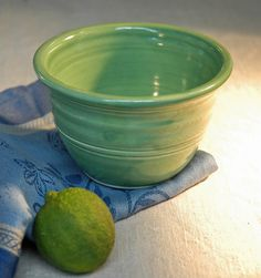 Cereal bowl in bright green ceramic by campcactus on Etsy, $14.00