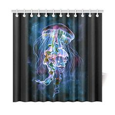 InterestPrint Home Bathroom Decor Watercolor Jellyfish Underwater Shower Curtain Hooks 72x72 Inch-Blue Black Fabric Watercolor Jellyfish Underwater Art in the Deep Sea Ocean