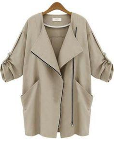 veste mince zippée avec poches -kaki  25.44
