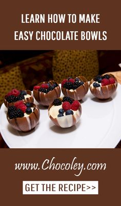 Learn how to make easy and fun chocolate bowls: http://www.chocoley.com/recipes/no-tempering/artistic/chocolate-bowls