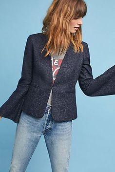 d833b2387a7645 Pinstriped Flounced-Sleeve Blazer Navy Blazers, All Sale, Sale Items,  Blazer Jacket