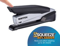 Bostitch Office Executive Stapler - 3 in 1 Stapler - One Finger, No Effort, Spring Powered Stapler, Black/Gray Notary Supplies, Mobile Notary, Grey Office, First Finger, Office Items, Black Friday, Effort, Black And Grey, Things To Sell