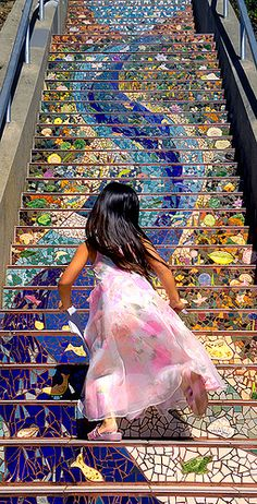"""Girl runs up San Francisco's 16th Avenue Tiled Steps"" by Abe K on Flickr - San Francisco, California"