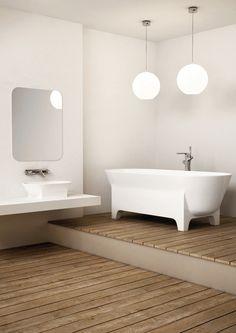 Baignoire Cedam - Luna.Baignoire aux lignes arrondies sur pied. Vasque à poser assortie. #baignoire #bath