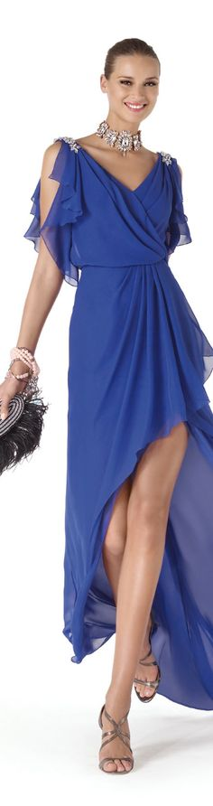 Pronovias - Formal Evening Blue Dress - Celebrate a night with Smiley Lady in blue - #Thejewelryhut