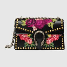 8b8ff5352f0 Dionysus Small Embroidered Shoulder Bag by Gucci. Gucci floral-embroidered  leather shoulder bag from the