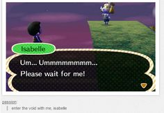 """passion: """" enter the void with me, isabelle """" Animal Crossing Funny, City Folk, Childhood Games, Cartoon Games, New Leaf, Funny Games, Just In Case, I Laughed, Cool Pictures"""
