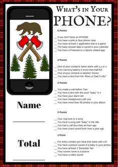Lumberjack Baby Shower | Printable Lumberjack Baby Shower Game This printable baby shower game is so much fun! Your guests have to mark down what's in their phones. The guest with the most points wins!