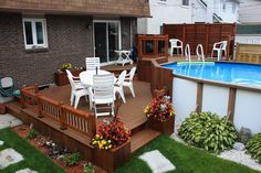 Awesome Outdoor Deck Plans and Layouts: There are so many ideas for the latest decks are presented here in the post. Some are created with unique planters, Above Ground Pool Landscaping, Above Ground Pool Decks, Small Backyard Pools, In Ground Pools, Backyard Patio, Outdoor Pool, Outdoor Decor, Pool Deck Plans, Patio Plans