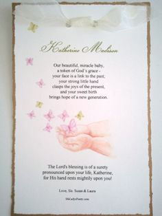 Hand-Painted Baby Art Card features small poem for birth or other occasion