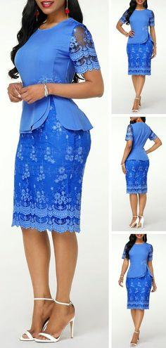 Short Sleeve Round Neck Back Slit Lace Dress Short African Dresses, Latest African Fashion Dresses, African Print Fashion, Women's Fashion Dresses, African Print Dress Designs, Lace Dress Styles, Classy Dress, Elegant Dresses, Pay Attention