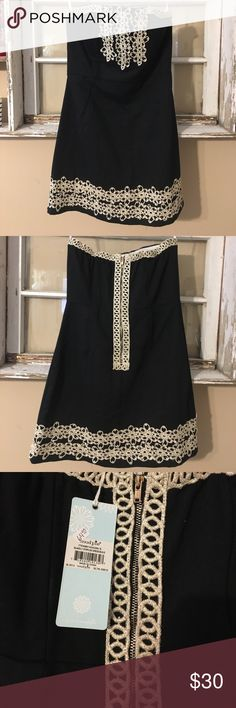 """Mudpie Blakely Strapless Shift Dress Black Mudpie Blakely strapless shift dress with gold floral trim. Bodice features boning and a stay-put """"sticky"""" strip to prevent dress from falling down. Body of dress is thick cotton canvas material. NWT, never worn Mudpie Dresses Strapless"""