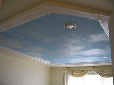 Simple Amazing Ceiling Cloud Cloud Ceiling home remodeling options from our interior designer, Debra Barnes with 31 kB and 675 x 506 Ceiling Murals, Bedroom Ceiling, Bedroom Decor, Cloud Ceiling, Roof Paint, Sky Painting, Blue Clouds, Bedroom Green, Dream Decor