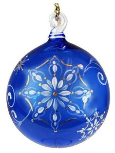 ♥ ~ ♥ Blue and White ♥ ~ ♥ Fenton Art Glass Hand Painted Cobalt Blue Ornament Noel Christmas, Glass Christmas Ornaments, Christmas Colors, Christmas Decorations, Xmas, Cobalt Glass, Cobalt Blue, Hand Painted Ornaments, Turquoise