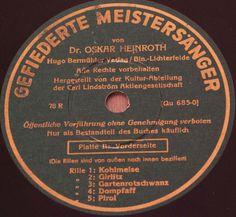 """DR. O. HEINROTH """"Vogelstimmen"""" GEFIEDERTE MEISTERSÄNGER bird calls 78rpm 10"""""""