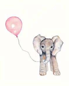 Elephant with Pink Balloon Nursery print- 8 X 10 inch