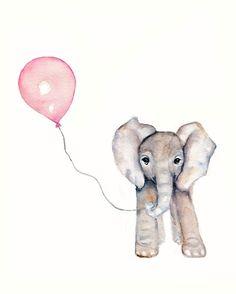 Elephant with Pink Balloon Nursery print- 8 X 10 inch