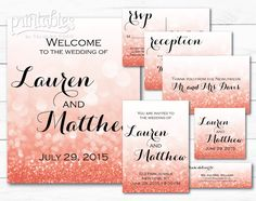 Coral Wedding Invitation Set  Blush Pink Wedding by PrintablesByTC