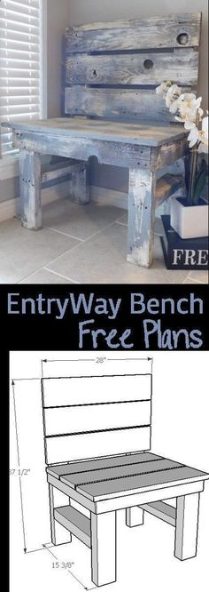 DIY EntryWay Bench - Woodworking Plans #woodworkingbench #woodworkingplans