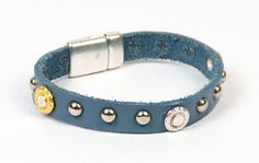 Flecks of Gold Studded Flat Leather Bracelet - see all project components @ AntelopeBeads.com
