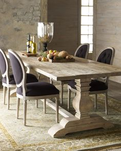 Natural Dining Table & Black Linen Chairs - Horchow