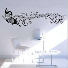 160x50cm Butterfly Music   Nature Vinyl Wall Paper Decal Art Sticker Q11. $20.88, via Etsy.