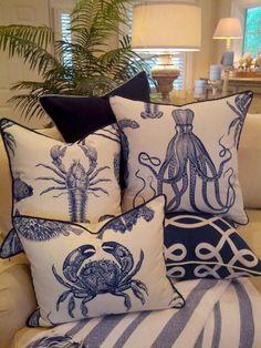 Indigo Sea Life Combo - Coastal Pillows - Beach Pillows - So much fun - blue & white! Coastal Bedrooms, Coastal Living Rooms, Coastal Homes, Coastal Decor, Living Room Decor, Coastal Style, Coastal Curtains, Coastal Rugs, Seaside Decor