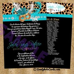 Leopard Customized Invitations Quince Anos - Teal Aqua Leopard Custom Quinceanera Invitations - Masquerade - Shop by Theme - Quinceanera Invitations, Sweet Sixteen Invitations, Vip Passes - (Powered by CubeCart)