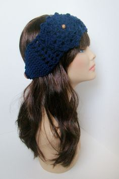 """Ear Warmer with Aster flower - Navy. $18.00, via Etsy. Coupon code """"Pin10"""" saves you 10%! #christmas #gift #giftguide #giftsforher #crochet #etsy #yarn"""