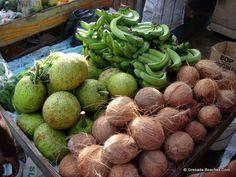Market Square, Grenada. Coconuts, green bananas and breadfruits!!