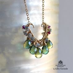 Moonbeams Jewelry by Adity Karande. Necklace Hydro Quartz, Tourmaline, Labradorite, Pearls,Gold.