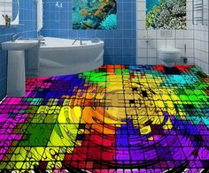 48.99$  Buy here - http://ainp1.worlditems.win/all/product.php?id=32703746434 - Creative 3D floor square wave texture colorful custom 3d stereoscopic floor murals self-adhesive waterproof pvc flooring